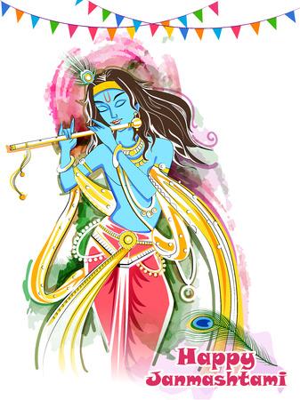 Lord Krishna playing bansuri flute on Happy Janmashtami holiday festival background
