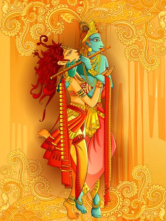 106338787 stock vector lord krishna playing bansuri flute with radha on happy janmashtami holiday festival background
