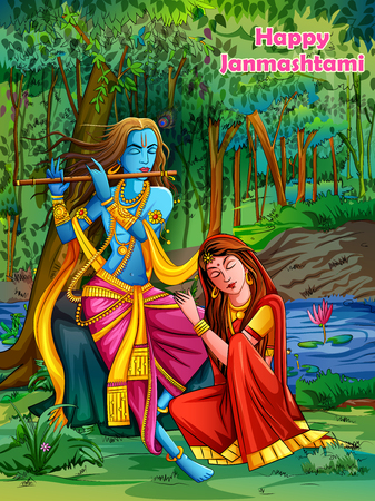 Lord Krishna playing bansuri flute with Radha on Happy Janmashtami holiday festival background