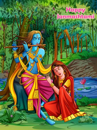 Lord Krishna suona il flauto bansuri con Radha sullo sfondo del festival festivo Happy Janmashtami