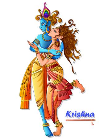 Lord Krishna suona il flauto bansuri con Radha sullo sfondo del festival festivo Happy Janmashtami Vettoriali