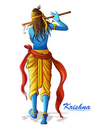 Lord Krishna che suona il flauto di bansuri su sfondo Happy Janmashtami holiday festival Vettoriali