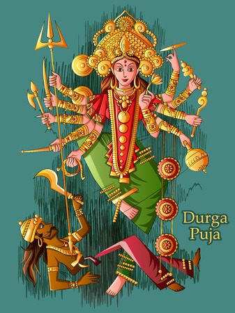 Indian Goddess Durga sculpture for Durga Puja holiday festival of India in Dussehra Vijayadashami Navratri