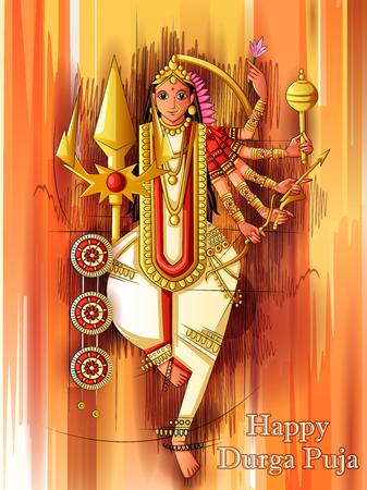 Indian Goddess Durga sculpture for Durga Puja holiday festival of India in Dussehra Vijayadashami Navratri Vector Illustration