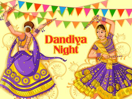 Indian Woman playing Garba in Dandiya Night Navratri Dussehra festival