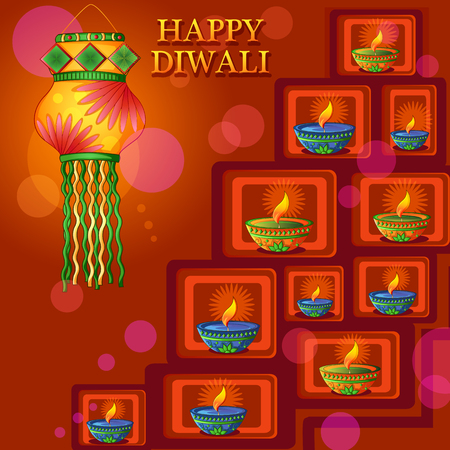 Happy Diwali traditional festival of India greeting background with colorful diya Illustration