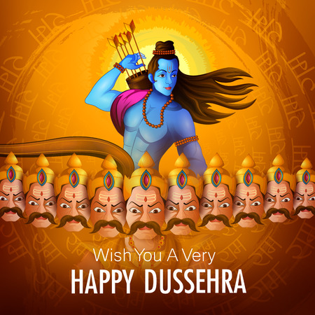 Lord Rama with demon Ravana in Happy Dussehra Navratri celebration India holiday background