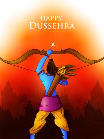 Lord Rama in Happy Dussehra Navratri celebrazione India sfondo vacanza