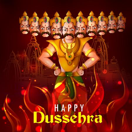 Demon Ravana in Happy Dussehra Navratri celebration India holiday background