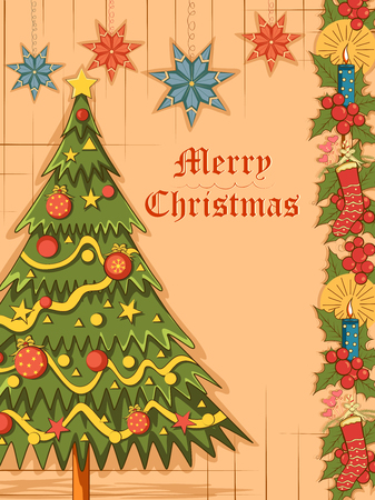 Merry Christmas festival celebration background with pine tree