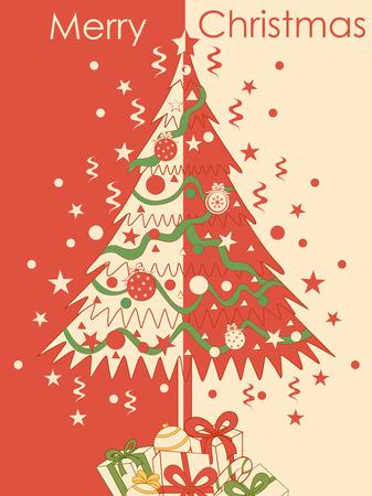 Merry Christmas festival celebration background with pine tree Ilustração