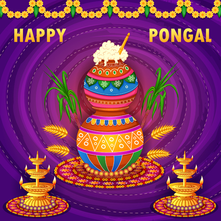 Happy Pongal religious traditional festival of Tamil Nadu India celebration background