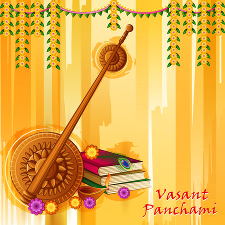Happy Vasant Panchami Indian Pooja festival background