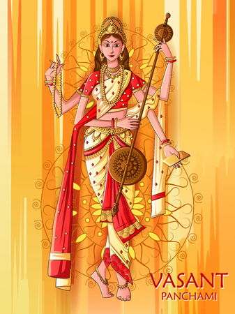 Indian Goddess Saraswati on Vasant Panchami Pooja festival background
