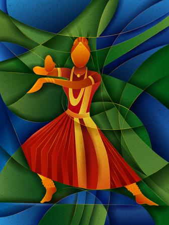 Vector design of woman performing Kuchipudi classical dance of Andhra Pradesh, India Illustration