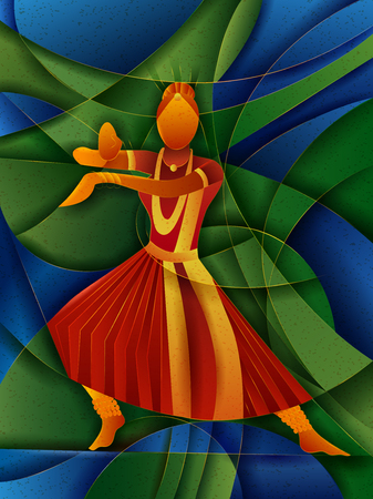 Vector design of woman performing Kuchipudi classical dance of Andhra Pradesh, India Иллюстрация