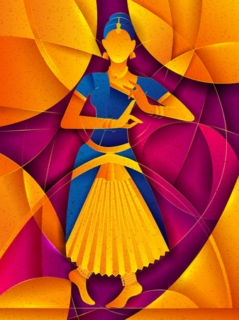 Disegno vettoriale di donna che esegue la danza classica Bharatanatyam del Tamil Nadu, India