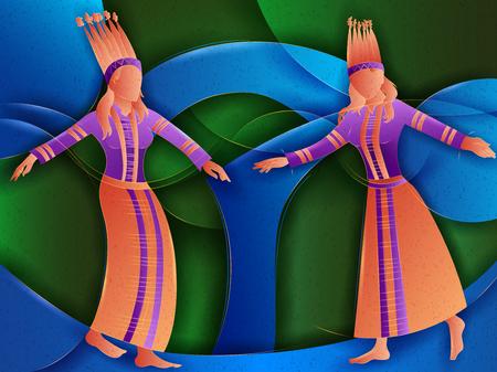 Vector design of Couple performing Cheraw folk dance of Mizoram, India