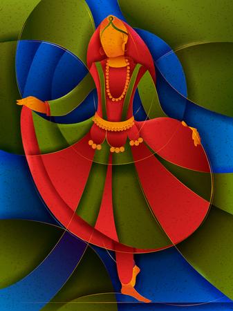 Vector design of woman performing Phag folk dance of Haryana, India