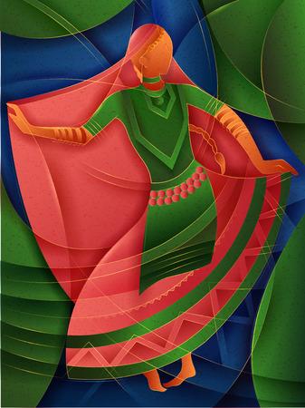 Vector design of woman performing Kalbelia folk dance of Rajasthan, India