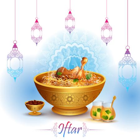 矢量插图的斋月Kareem问候斋月的背景与开斋食物和饮料