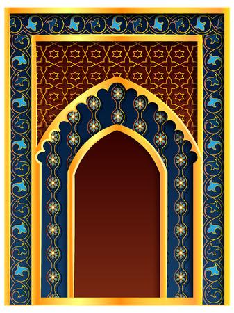 vector illustration of Ramadan Kareem Greetings for Ramadan background with Islamic Mosque