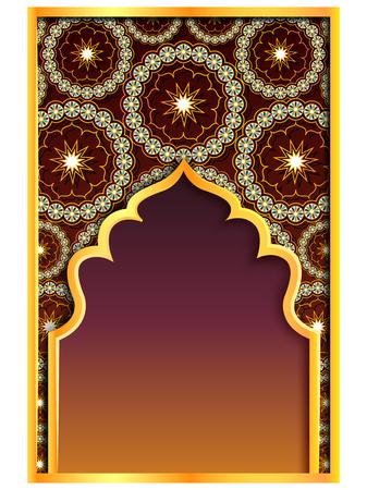 vector illustration of Ramadan Kareem Greetings for Ramadan background with Islamic Mosque Vetores