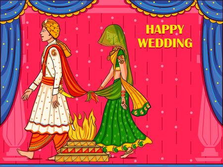 Pareja india en la ceremonia de boda Satphera de la India Ilustración de vector