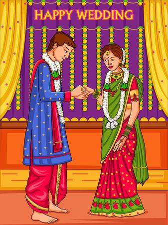 Couple indien en mariage Cérémonie de fiançailles de l'Inde