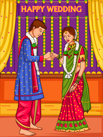 Indian couple in wedding Engagement ceremony of India Illustration