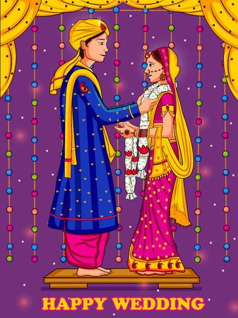 Indian couple in Jaimal wedding ceremony of India 스톡 콘텐츠 - 124348016