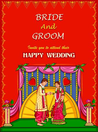 Indian couple in wedding Engagement ceremony of India Illustration