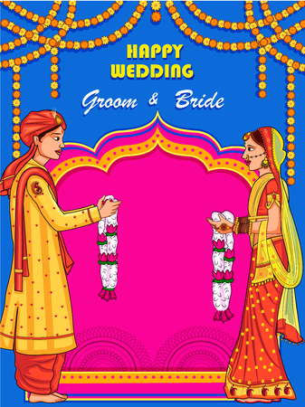 Pareja india en la ceremonia de boda de Jaimal de la India