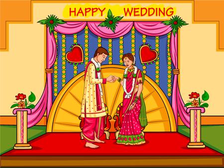 인도의 결혼식 약혼식에서 인도 커플