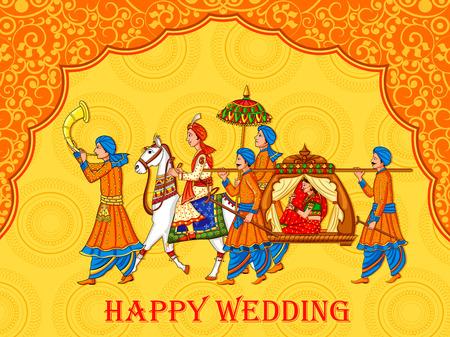 Mariée de femme indienne dans la cérémonie de mariage de l'Inde Vecteurs