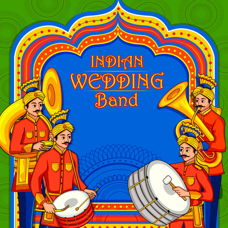 musical band performing in barati on Indian wedding occasion Illustration