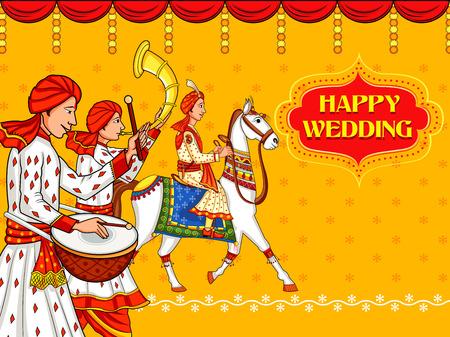 Hombre indio a caballo en la ceremonia de la boda de India Baraati