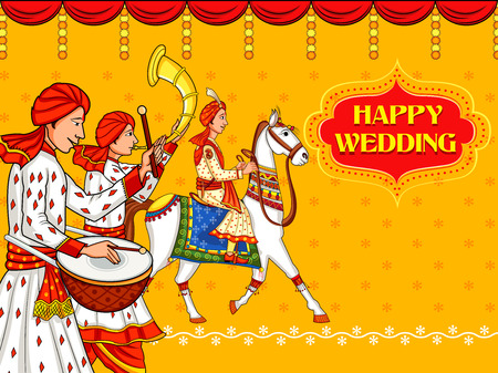 Indian man on horse in wedding ceremony of India Baraati