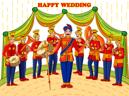 Vector design of musical band performing in barati on Indian wedding occasion 向量圖像