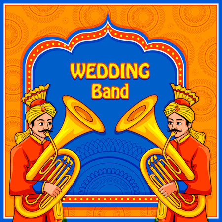 musical band performing in barati on Indian wedding occasion