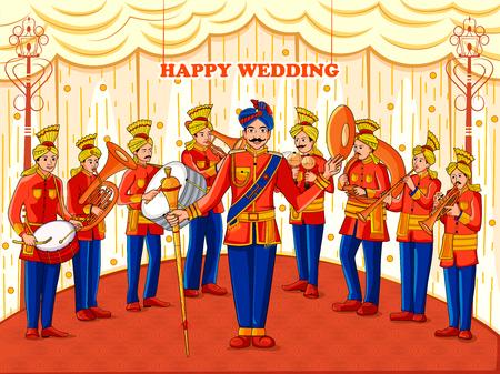 Disegno vettoriale della banda musicale che si esibisce a barati in occasione del matrimonio indiano