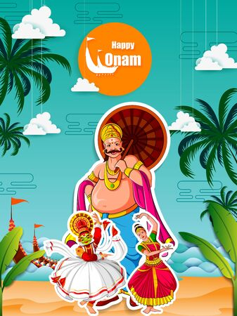 vector illustration of Happy Onam Festival background of Kerala