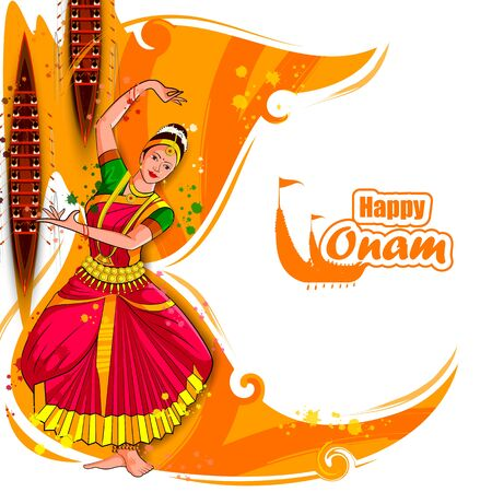 vector illustration of woman performing Mohiniyattam dance for Happy Onam festival of South India Kerala background Иллюстрация