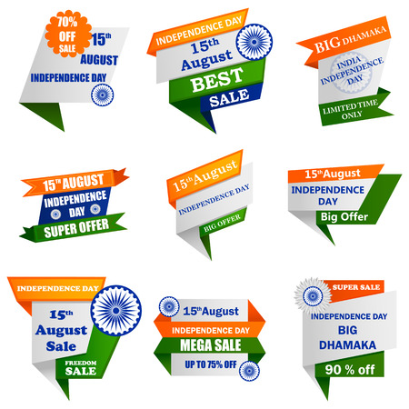 Promozione della vendita e pubblicità per il 15 agosto Happy Independence Day of India