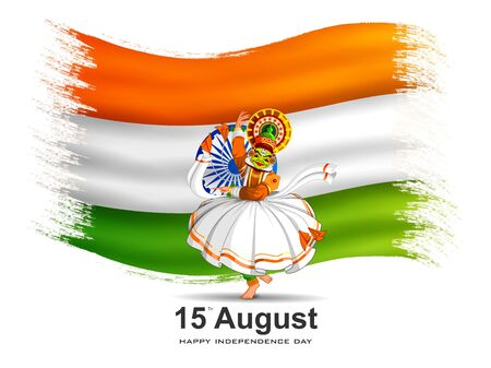 Indian tricolor background for 15th August Happy Independence Day of India Ilustracja
