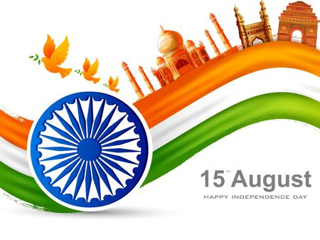 Indian tricolor background for 15th August Happy Independence Day of India  イラスト・ベクター素材