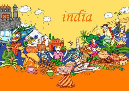Ilustracja kolażu indyjskiego przedstawiająca kulturę, tradycję i festiwal Indii