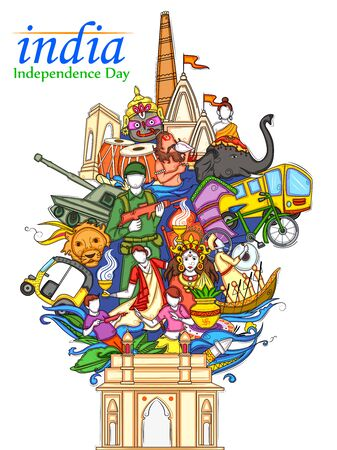 Indian collage illustration showing culture, tradition and festival on Happy Independence Day of India Ilustração