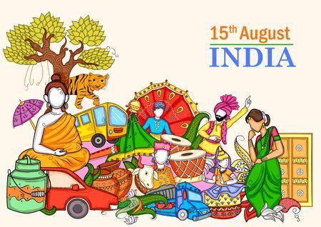 Illustrazione di collage indiano che mostra cultura, tradizione e festival durante il felice giorno dell'indipendenza dell'India