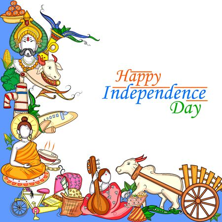 Indian collage illustration showing culture, tradition and festival on Happy Independence Day of India 일러스트